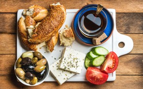 Picture coffee, Breakfast, cheese, cucumber, tomato, olives, roll