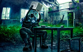 Picture table, chair, banks, the room, Romantically Apocalyptic
