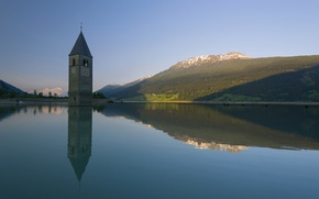 Picture mountains, lake, tower, Italy, Trentino-Alto Adige / Südtirol