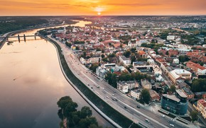 Picture sunset, the city, Lithuania, Kaunas