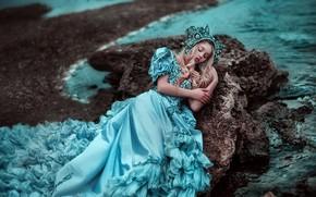 Wallpaper dress, sleep, sleeping beauty, mood, Kseniya Strelkova, Maria Lipina, sea, coast, the situation