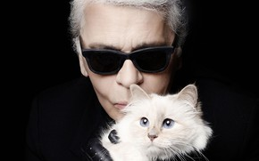 "Wallpaper Karl Lagerfeld - fashion designer, black - white - blue, cat supect (""Cabbage""), glasses, black ..."