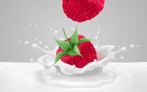 Picture Milk, Squirt, Raspberry, Rendering