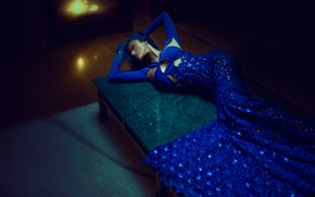 Picture girl, pose, lies, blue dress, Crystal Louey