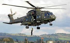 "Wallpaper cloud, kumo, gun, Merlin, soldier, pearls, AgustaWestland AW101, uniform, helicopter, AgustaWestland AW101 ""Merlin"", weapon, rifle, ..."
