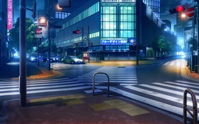 Picture machine, night, lights, Japan, traffic light, crossroads, the transition, signs, deserted city, road signs