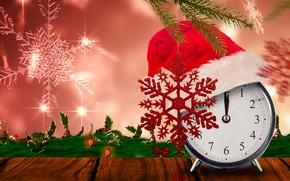 Picture leaves, snowflakes, branches, time, background, holiday, hat, watch, new year, Christmas, alarm clock, garland, red, …