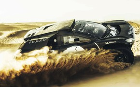 Picture Sand, Auto, Black, 2008, Sport, Machine, Speed, Peugeot, Red Bull, Rally, Dakar, Dakar, SUV, Rally, …