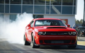 Picture Challenger, Red, sportcar, smoke, race, speed, musclecar, track, SRT, Demon, 2017