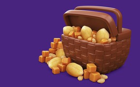 Wallpaper walnut, chocolate, food, 3D, Cadbury Dairy Milk Icons, butterscotch, snacks, nuts, AJ Jefferies, art