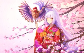 Picture water, girl, flowers, smile, tree, branch, anime, petals, Sakura, art, kimono, ears, cock, rizihike