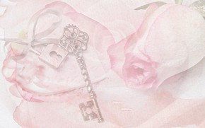 Picture heart, rose, picture, watercolor, key