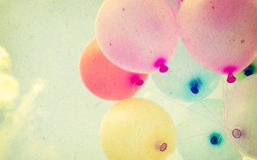 Picture summer, the sun, happiness, balloons, stay, colorful, summer, sunshine, happy, vintage, balloon