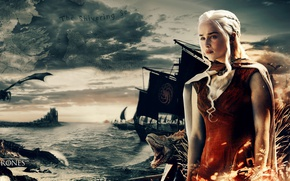 Picture sea, war, dragon, map, A Song of Ice and Fire, Game of Thrones, queen, Daenerys …