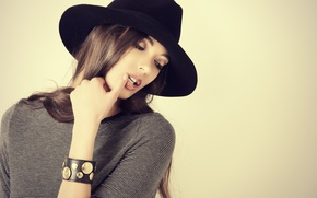 Picture girl, hat, hairstyle, long hair