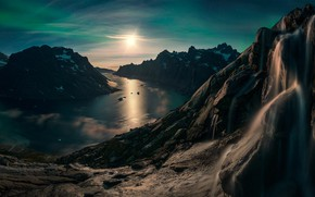 Picture sky, sea, landscape, nature, mountains, rocks, snow, sun, waterfall, Norway, fjord