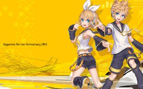 Picture yellow, two, Vocaloid, Vocaloid