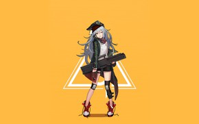 Picture girl, weapons, anime, art, cap, yellow background, knee pads, Girls Frontline, Girls front