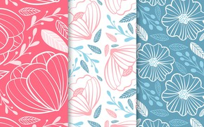 Picture flowers, texture, colorful, pink background, flower, patterns, blue background