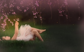 Picture branches, spring, girl, flowers, Meg Bitton
