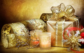 Picture gift, new year, candle, snowflake