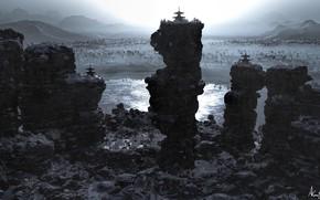 Picture rocks, pond, Three shrines