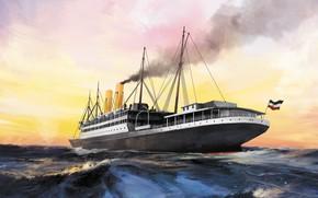 Picture sea, wave, ship, steamer, amerika, Transatlantic Ships