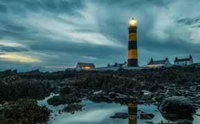 Picture the sky, water, clouds, lights, stones, lighthouse, the evening, houses, Ireland, St Johns Lighthouse, PowerEdge