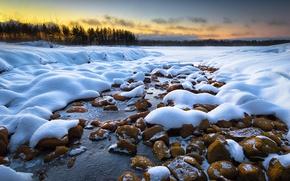 Picture winter, snow, dawn, morning, Finland, Joensuu