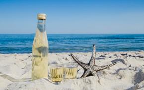 Picture sea, drink, star, coast, lemonade, sand