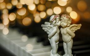 Picture macro, kiss, Christmas, bokeh, angels