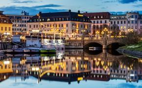 Picture water, bridge, lights, reflection, river, home, the evening, pier, lights, Sweden, Gothenburg