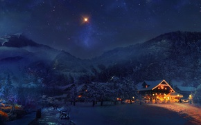 Picture winter, forest, snow, trees, mountains, lights, house, vacation
