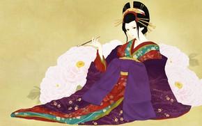 Picture girl, flowers, art, geisha, kimono