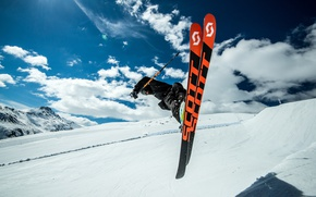 Picture the sky, snow, ski, speed, track