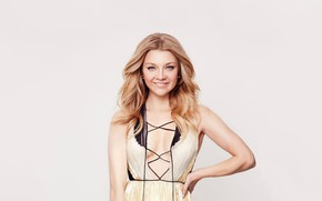 Picture pose, smile, background, portrait, makeup, dress, actress, hairstyle, blonde, beauty, Natalie Dormer, Natalie Dormer
