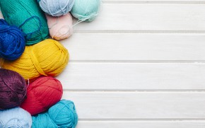 Wallpaper thread, colors, wooden background, yarn