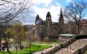 Picture the sky, the sun, clouds, trees, castle, Scotland, ladder, benches, Edinburgh