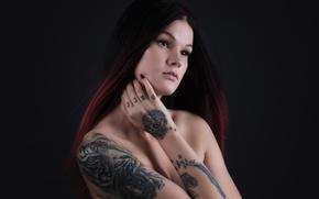 Picture background, portrait, piercing, tattoo, Satu