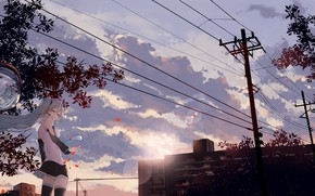 Picture the sky, girl, the city, sunrise, wire, anime, morning, art, vocaloid, hatsune miku, jin yun