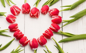 Picture heart, love, wood, red tulips, tulips, romantic, tulips, heart, spring, red, flowers