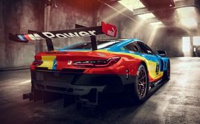 Picture racing car, rear view, 2018, GTE, BMW M8