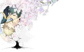 Wallpaper Sakura, art, two, Boku no Hero Academy, My Hero Academia, Bakugou Katsuki, Izuku Midoriya