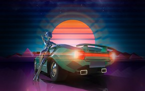 Picture The sun, Auto, Music, Neon, Machine, Background, Graphics, Rendering, Synthpop, Darkwave, Synth, Neon Drive, Retrowave, …