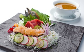 Picture soup, vegetables, seafood, tuna, sashimi