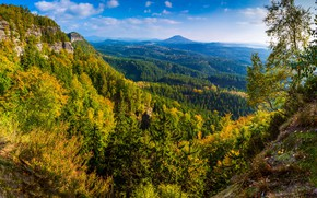 Picture autumn, forest, the sky, the sun, clouds, trees, mountains, stones, rocks, Germany, panorama, Saxon Switzerland …