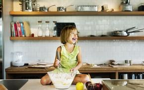 Picture joy, kitchen, girl, fruit, prepares, flour, Kitchen, Little girls