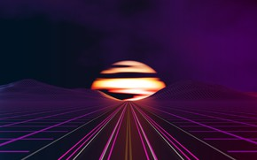 Wallpaper Synthpop, Synth, Sinti, Synth-pop, Road, Music, The sun, The sky, Neon, Graphics