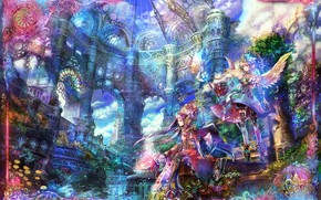 Picture castle, girls, angels, art