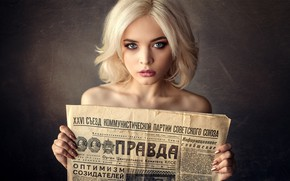 Picture background, portrait, makeup, hairstyle, blonde, newspaper, beauty, TRUE